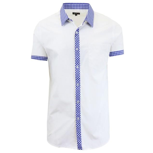 Men's Short Sleeve Solid Button Down Dress Shirt