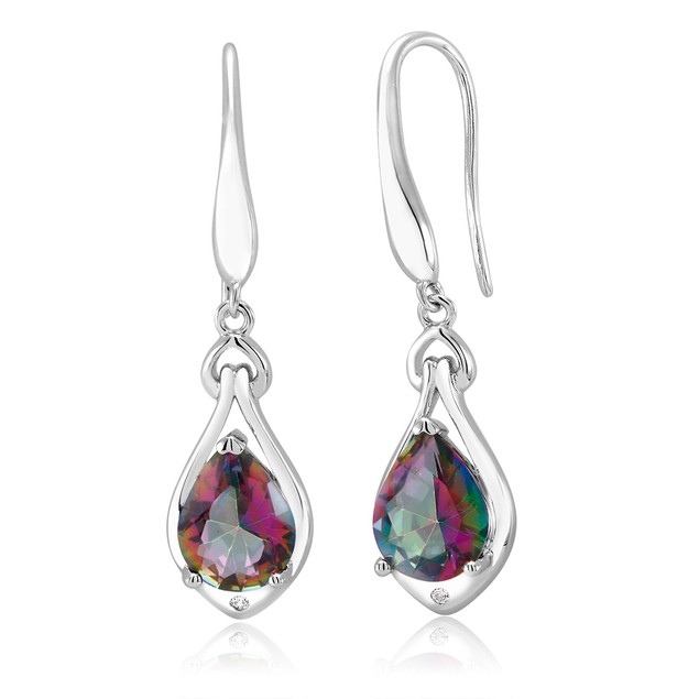 Gemstone Drop Earring In 18kt White Plated Gold