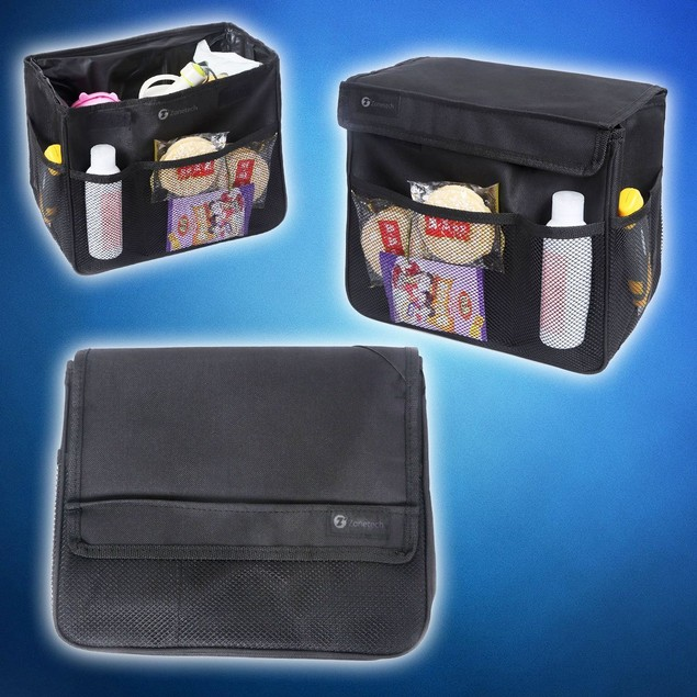 Zone Tech Heavy Duty Multipurpose Collapsible Black Portable Car Organizer