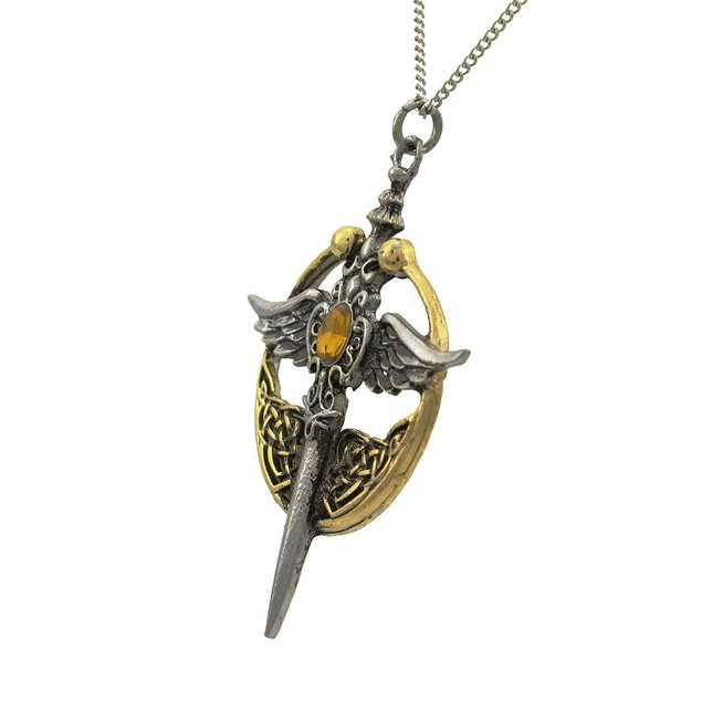 Two Tone St. Michael Relic For Chivalry And Honor Mens Pendant Necklaces