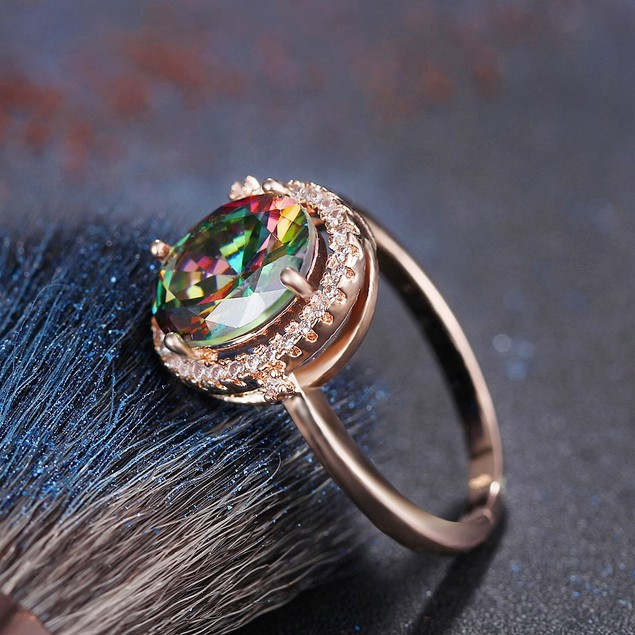 18kt Plated Rose Gold Colorful Engagement Ring