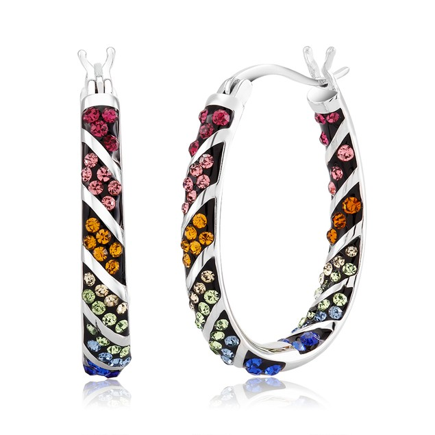 Multi Colored Crystal Hoop Earrings