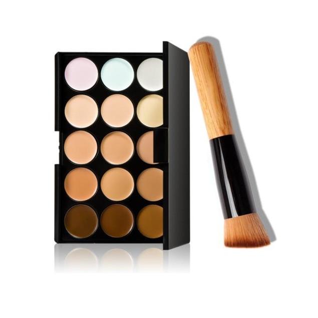 15 Colors Makeup Concealer Contour Palette with Makeup Brush