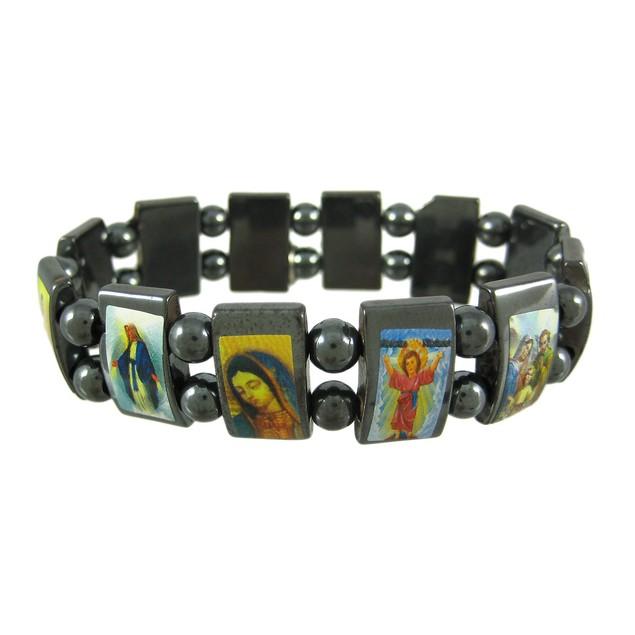 Hematite Stretch Bracelet W/ Religious Scenes Stretch Bracelets