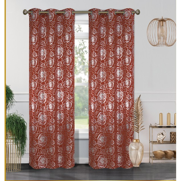 2-Pack Blackout Curtain Panels with Metallic Print (38'' X 84'')