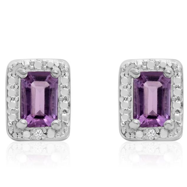 1 Ct Emerald Shape Amethyst and Halo Diamond Earrings