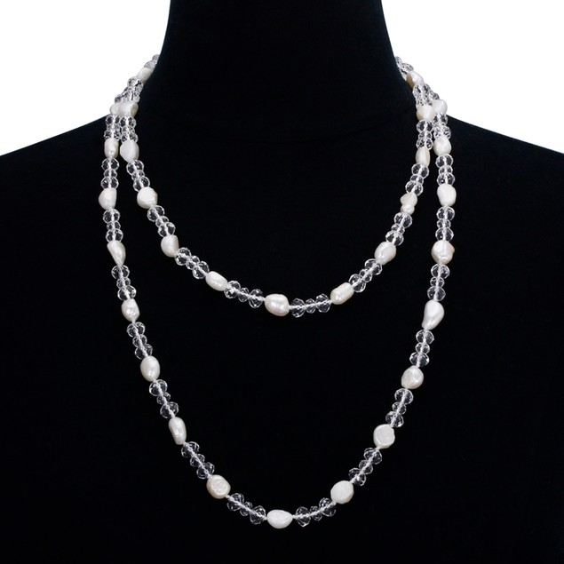 Double Strand Imitation Pearl & Crystal Necklace and Bracelet Set