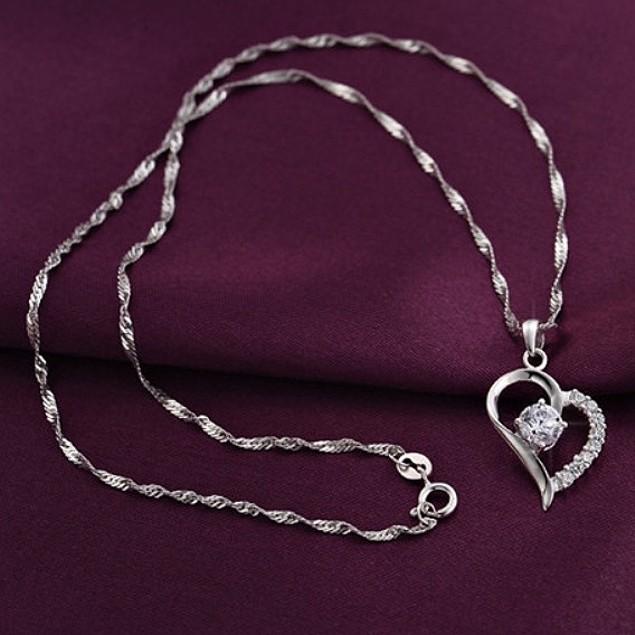 Cubic Zirconia Crystal Heart Pendant Necklace