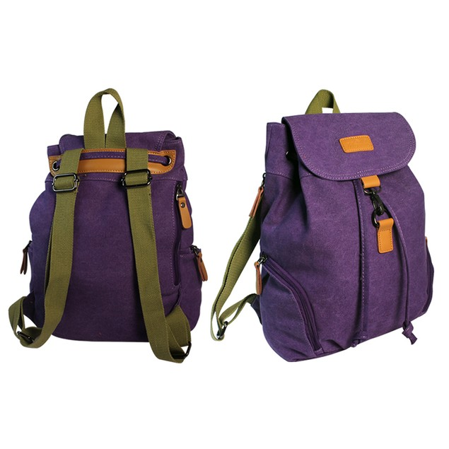 Canvas Backpack with Zipper Pocket