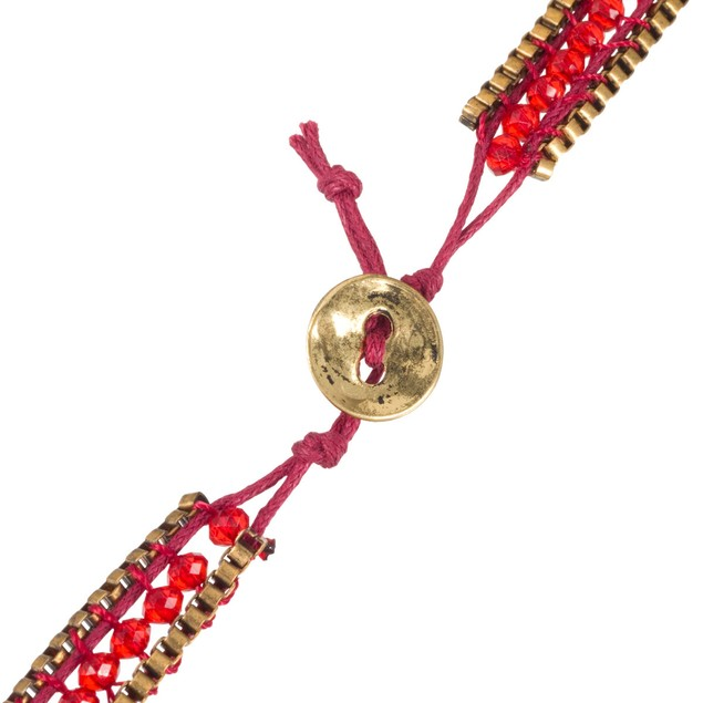 Red Crystal & Gold Tone Box Chain Wrap Necklace