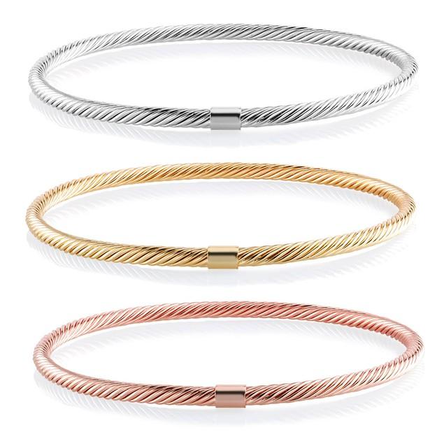 Set of 3 Tri Color Twisted Bangle Bracelets