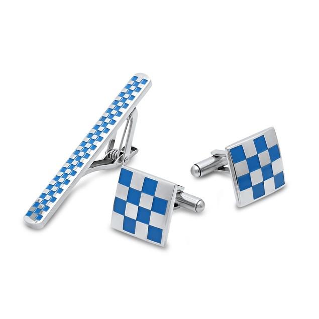 Box Set Checkerboard Cufflinks and Tiebar