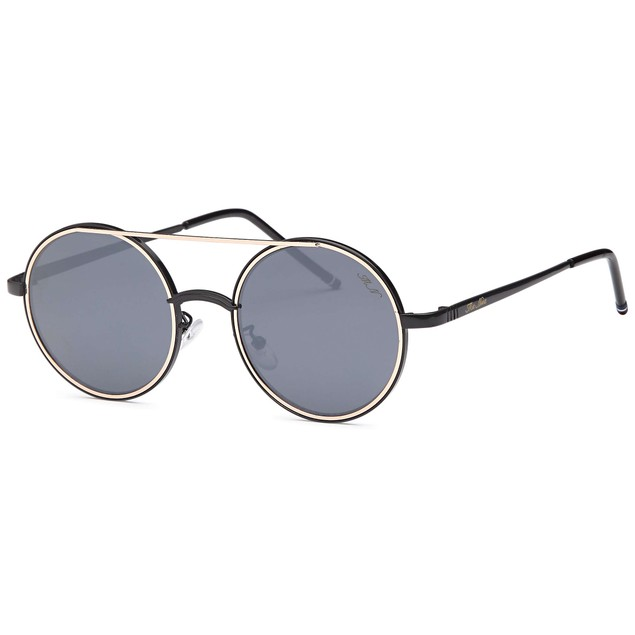 Rounded Double Bridge Retro Black Sunglasses
