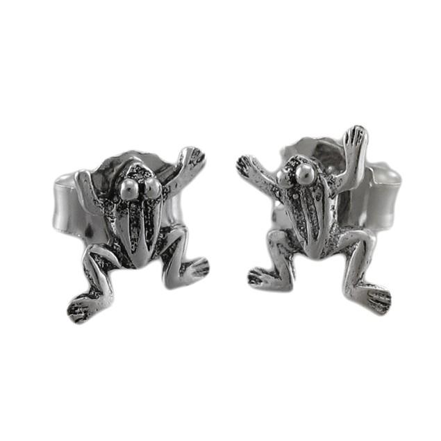 Tiny Sterling Silver Climbing Frog Stud Earrings Womens Stud Earrings