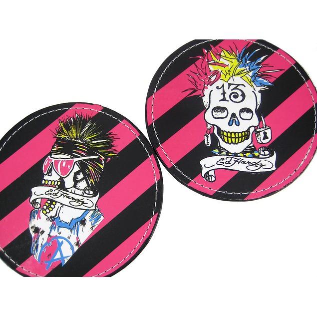 Set Of 4 Ed Hardy Punked Skull Leather Coasters Coasters