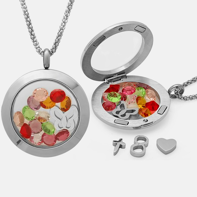 Stainless Steel Locket with Object Charms