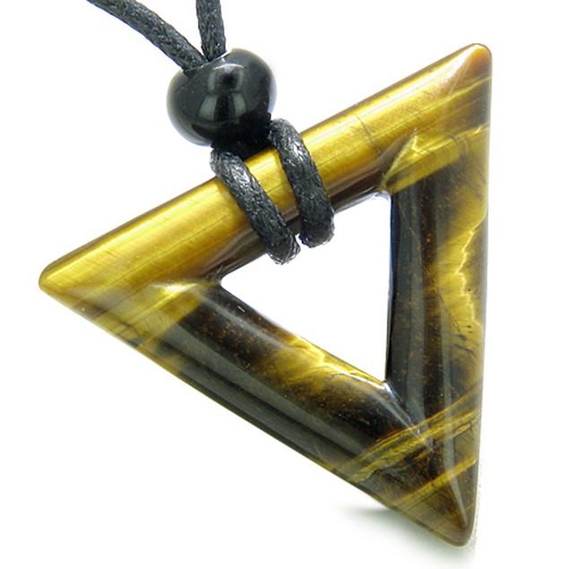Amulet triangle protection lucky coin charm tiger eye arrowhead necklace tanga - Coin de finition plinthe ...