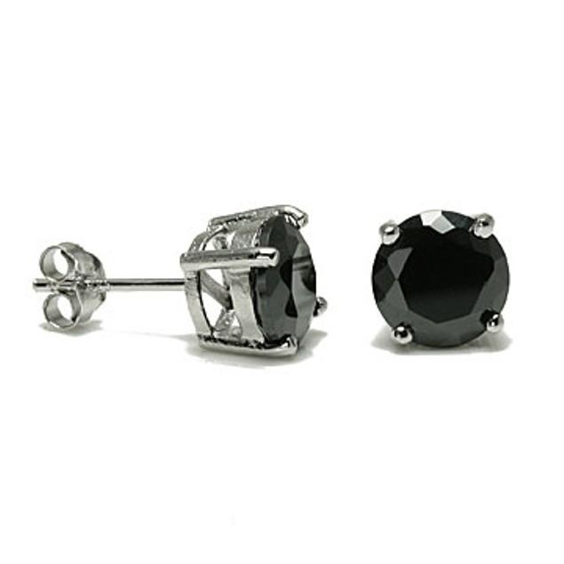 2.86ct Black Cz Stud Earrings 925 Sterling Silver