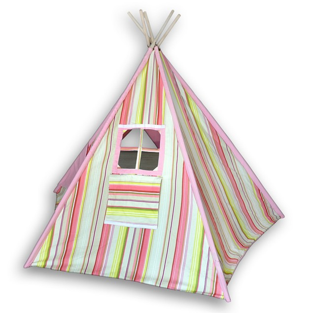 Children`S Canvas Teepee Tent Pink And Yellow Childrens Play Tents