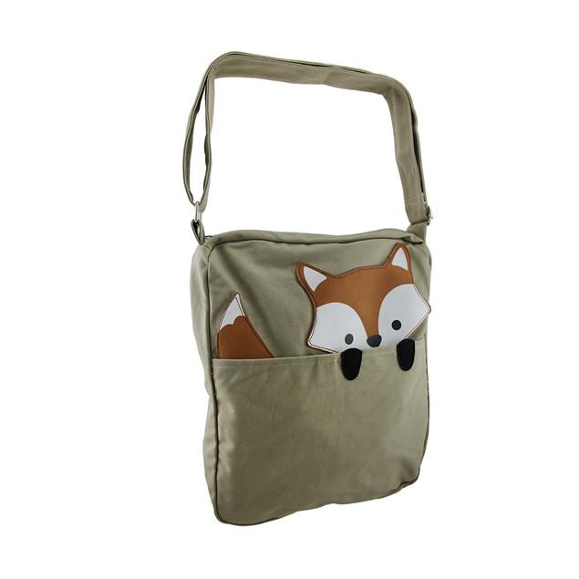 Sleepyville Critters Peeking Fox Canvas Crossbody Womens Cross Body Bags