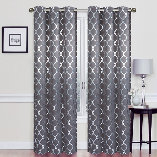 """76"""" X 84"""" Heavy Double-Layered Blackout Lattic Panel Pair with Foil"""