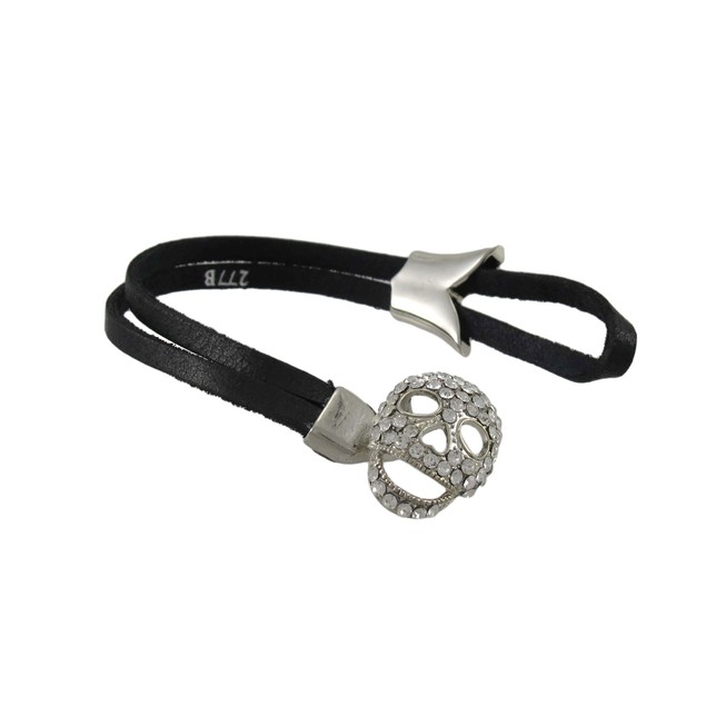 Black Leather Toggle Bracelet W/ Rhinestone Womens Leather Bracelets