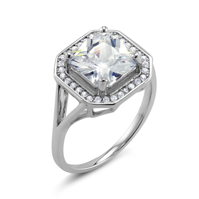 18kt White Gold Square Engagement Ring