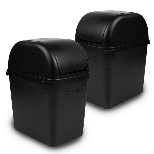 Zone Tech 2x Mini Car Garbage Trash Litter Wastebasket Can Latch Grip