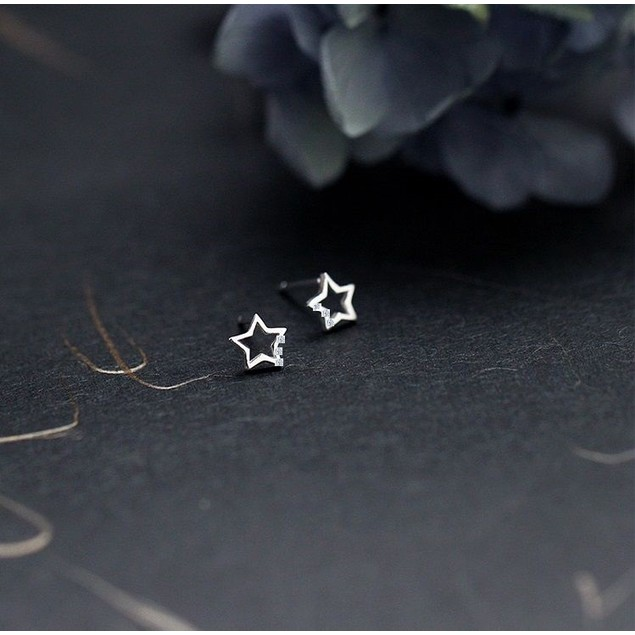 Child's Cubic Zirconia Open Star Stud Earrings in Sterling Silver