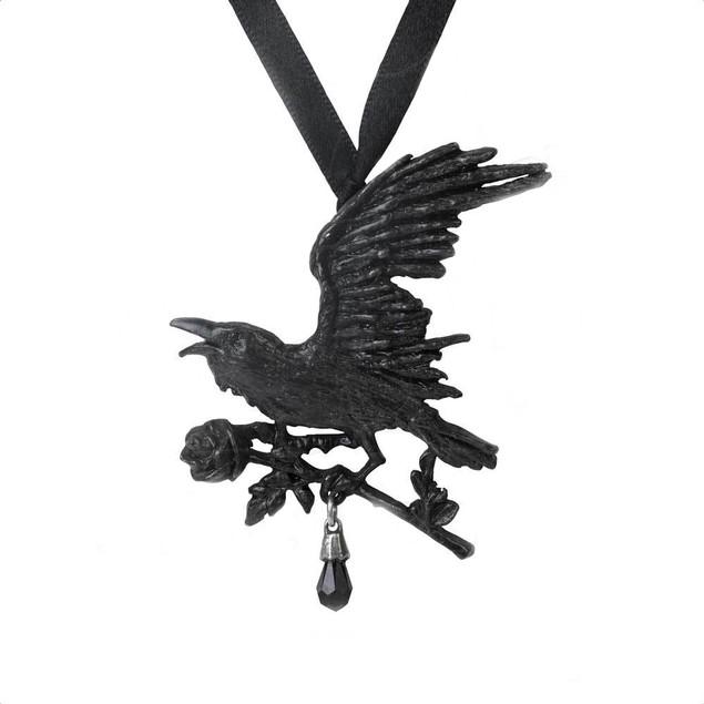 Alchemy Gothic Harbinger Black Raven Ribbon Choker Womens Pendant Necklaces