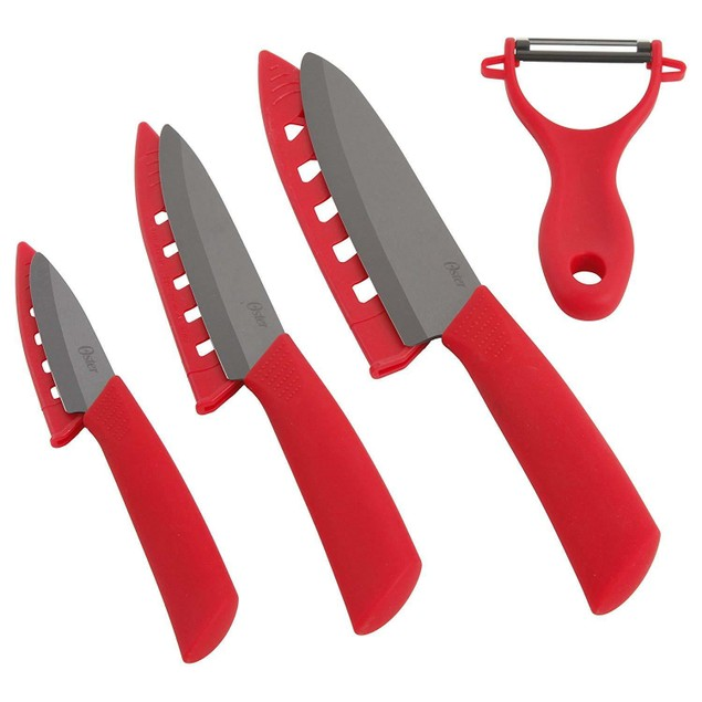 Oster Ceramic 3 Knife & Peeler Set - Red Ceramic Cutlery Set