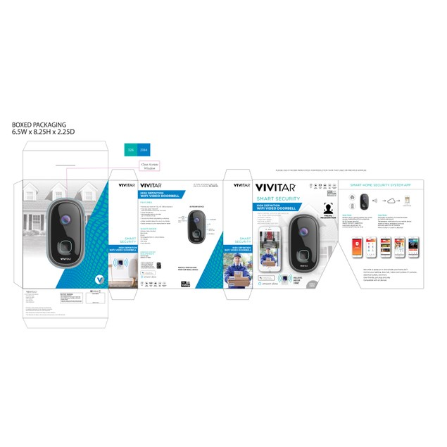 Vivitar High Definition Wifi Video Doorbell w/ Two Way Audio