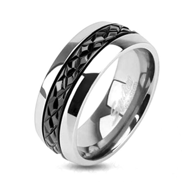 Diagonal Cut Pattern Black IP Centered Ring Titanium