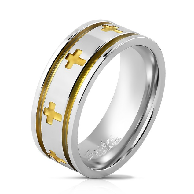 Two Tone Cut Out Crosses Grooved Stainless Steel Ring