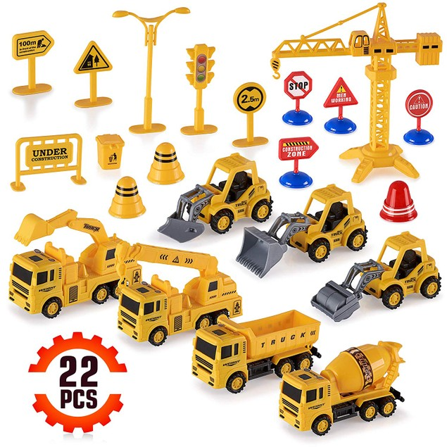 22-Piece Construction Trucks Toy Set for Kids