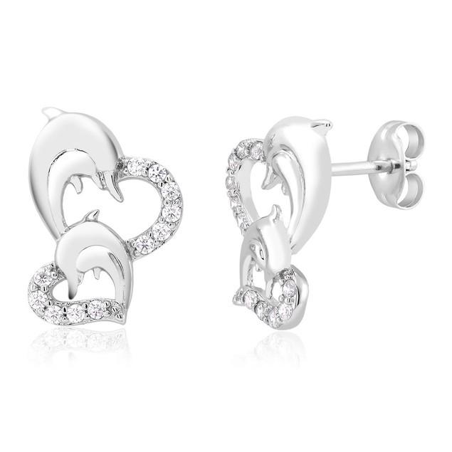 Cubic Zirconia Heart & Dolphin Stud Earrings
