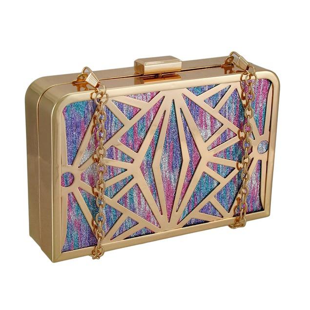 Glitter Metallic Rainbow Stained Glass Look Womens Clutch