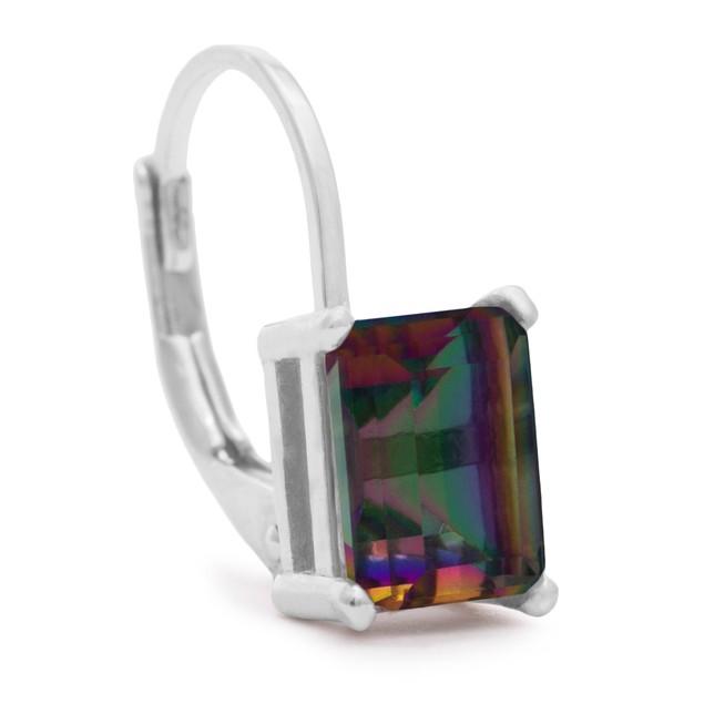 Sterling Silver 2 Carat Emerald Shape Mystic Topaz Earrings