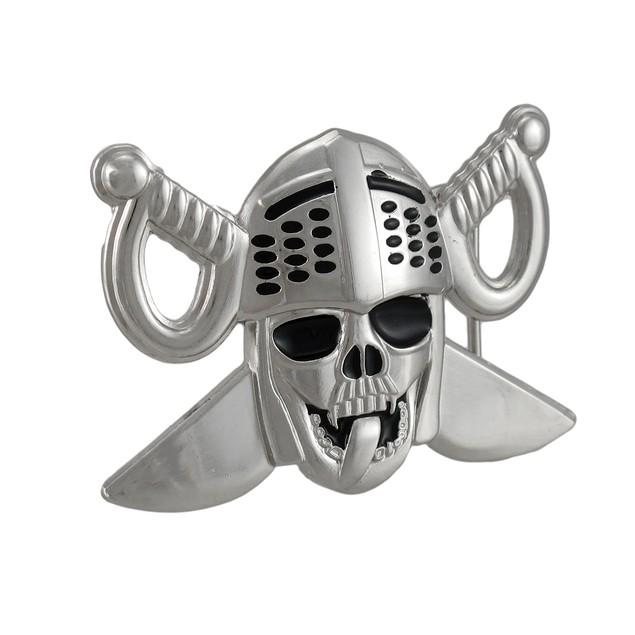 Lewd Knight Skull & Crossed Swords Belt Buckle Mens Belt Buckles