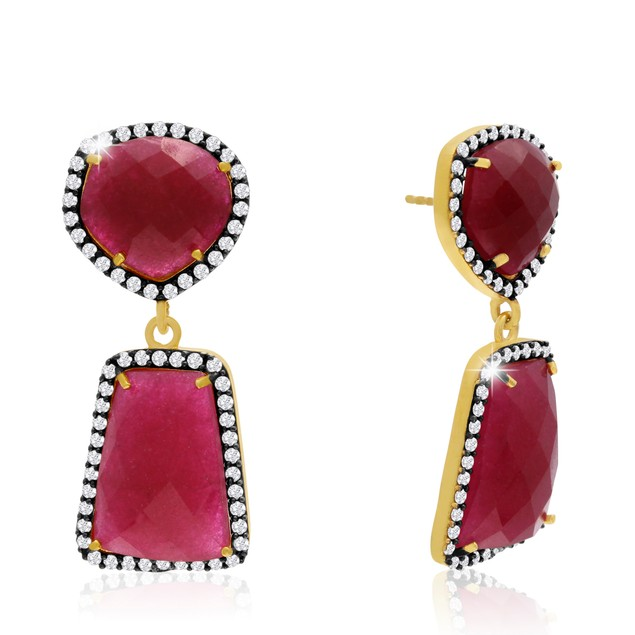 14k Yellow Gold 56 Carat Ruby and CZ Earrings