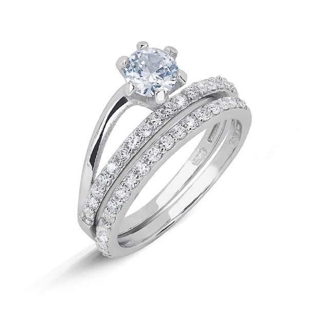 Simulated Diamond Engagement Ring Set - Separated