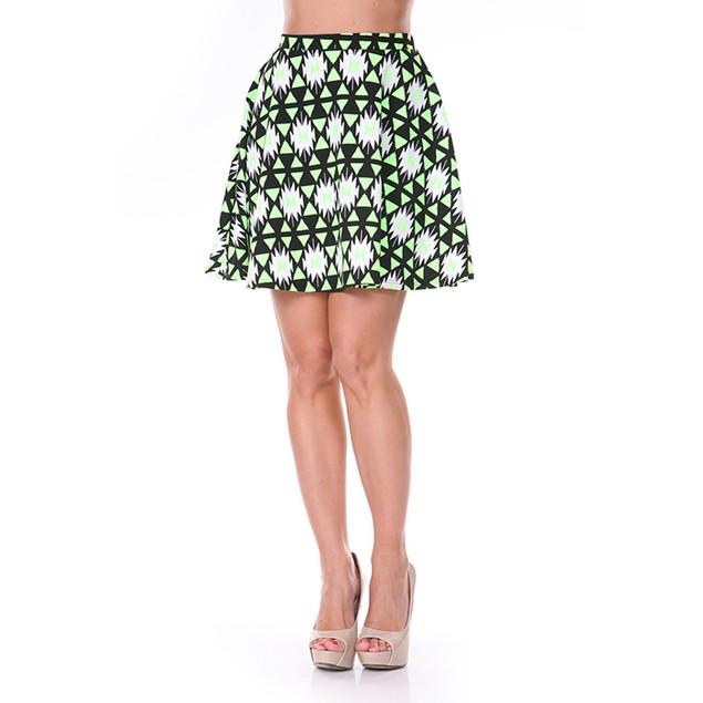 Neon Green & Black Diamond Print Skater Skirt