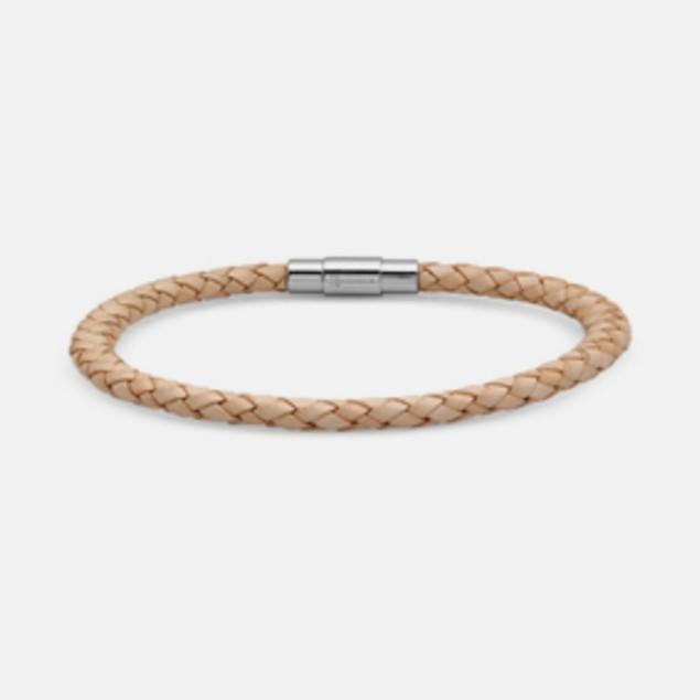 Men's Braided Genuine Leather Bracelet - Tan