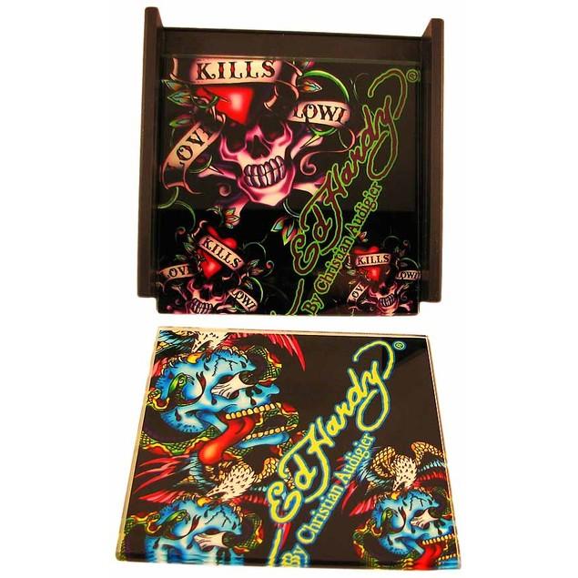 Set Of 4 Ed Hardy `Skulls` Black Glass Coasters Coasters
