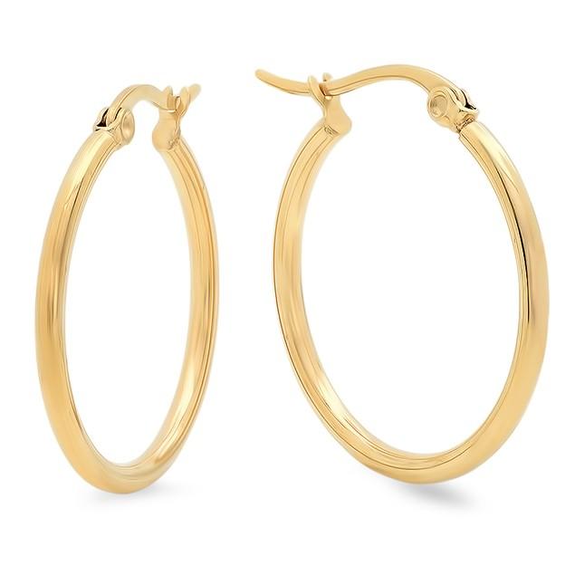 Ladies Stainless Steel Hoop Earrings 25mm Set