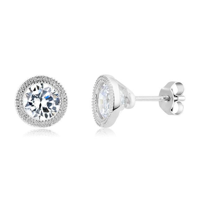 Gold Plated Imitation Diamond Beaded Bezel Stud Earring