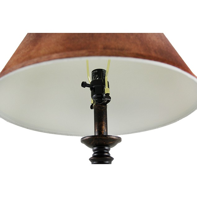 The Orb Antique Bronze Finish Lamp W/Faux Leather Table Lamps