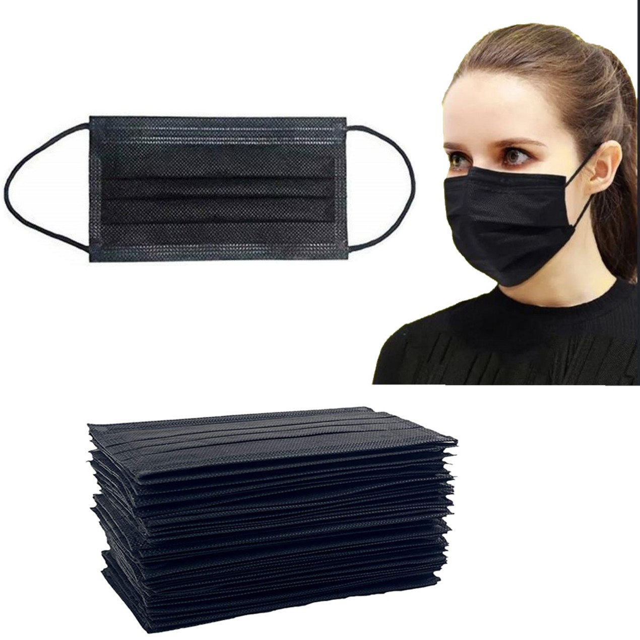 50-Pack Non-Medical Disposable 3-Ply Black Face Masks