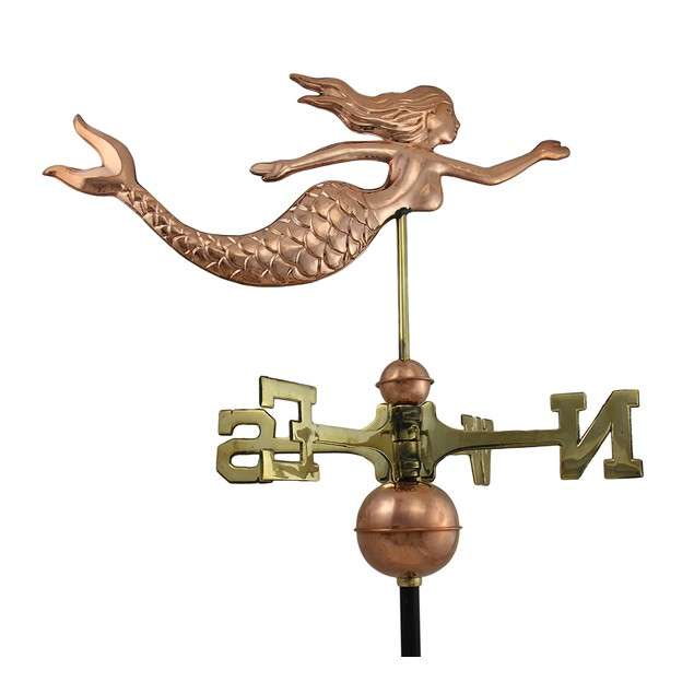 Polished Copper Decorative Swimming Mermaid Weathervanes