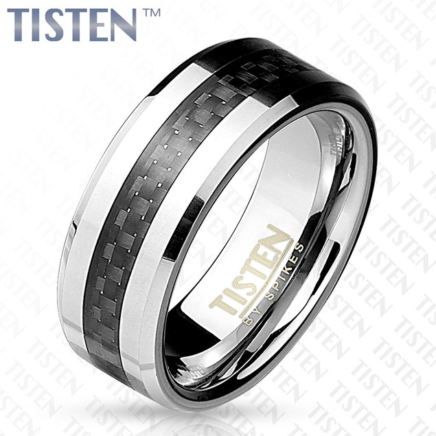 Black Carbon Fiber Inlay with Beveled Edge Tisten Ring